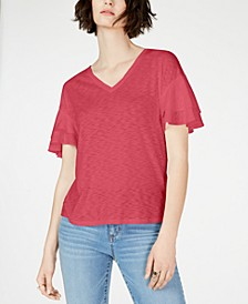 INC Tiered Flutter-Sleeve Top, Created for Macy's