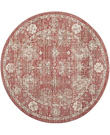 Safavieh Windsor Red and Ivory 6' x 6' Round Area Rug