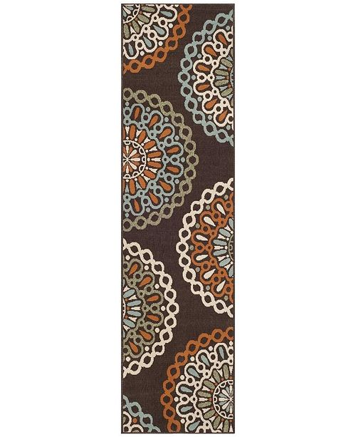 "Safavieh Veranda Chocolate and Terracotta 2'3"" x 8' Runner Area Rug"