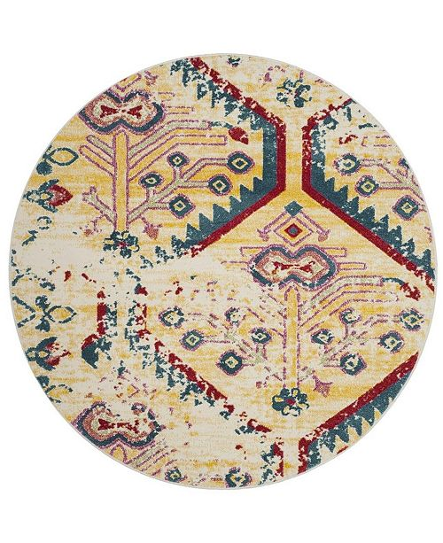 """Safavieh Watercolor Light Yellow and Blue 6'7"""" x 6'7"""" Round Area Rug"""