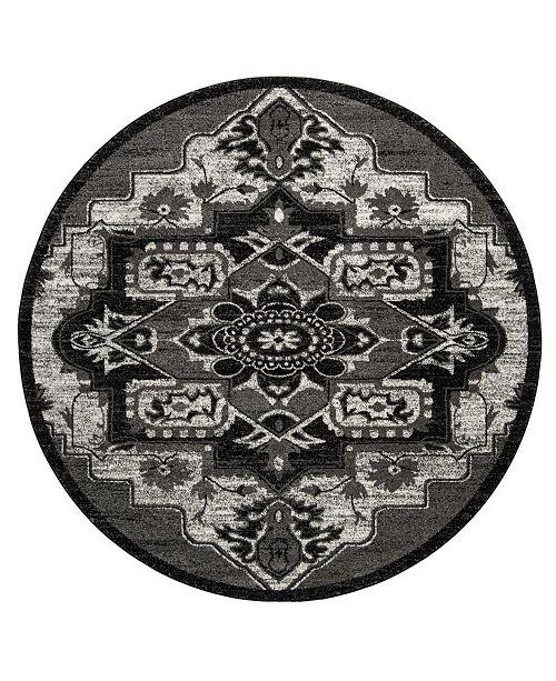 """Safavieh Vintage Hamadan Light Gray and Gray 6'7"""" x 6'7"""" Round Area Rug"""