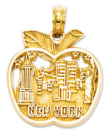 14k Gold Charm, Cut-Out New York City Skyline Apple Charm