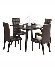 "5pc 42"" Square Dining Set, with Leatherette Chairs"