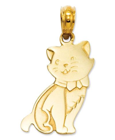 14k Gold Charm, Sitting Cat Charm