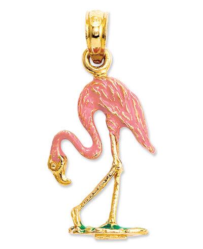 14k Gold Charm, Pink Flamingo Charm