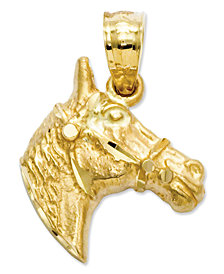 14k Gold Charm, Diamond-Cut Horse Head Charm