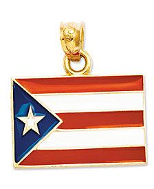14k Gold Charm, Puerto Rico Flag Charm