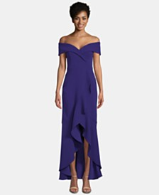 XSCAPE Off-The-Shoulder Ruffle-Bottom Gown