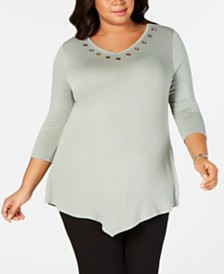 Belle by Belldini Plus Size Grommet-Trim Pointed-Hem Top