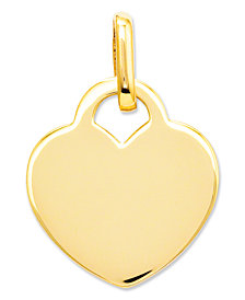 14k Gold Charm, Polished Heart Charm