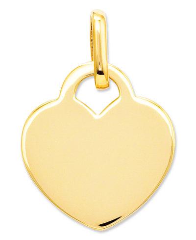 14k Gold Charm, Polished Heart Charm