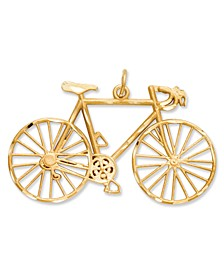 14k Gold Charm, Diamond-Cut Bicycle Charm