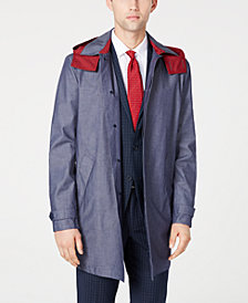 Tommy Hilfiger Men's Modern-Fit Wolf Navy/White Twill Raincoat