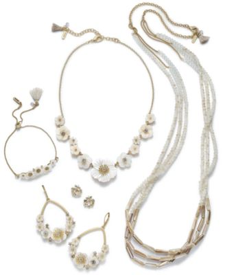 Gold-Tone Crystal & Imitation Mother-of-Pearl Flower Statement Necklace, 16