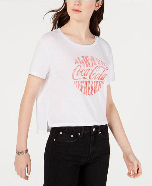 Freeze 24-7 Juniors' Coca-Cola Cropped Graphic T-Shirt