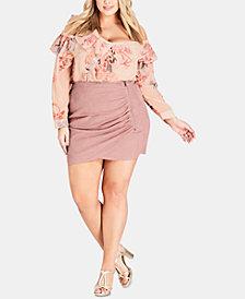 City Chic Trendy Plus Size Faux-Suede Mini Skirt