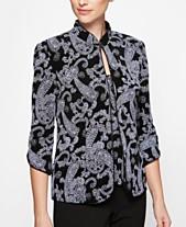 5f76139365a8f2 Alex Evenings Glitter-Print Jacket & Top
