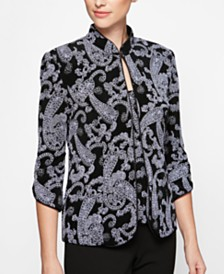 Alex Evenings Petite Paisley Metallic Printed Jacket & Sleeveless Top