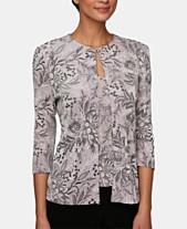 7353cbac18a Alex Evenings Petite 3 4-Sleeve Glitter Printed Jacket   Sleeveless Top
