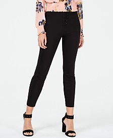 Bar III Lace-Up Skinny Pants, Created for Macy's
