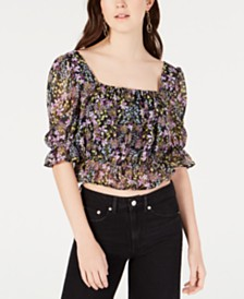 Material Girl Juniors' Printed Ruffle-Trimmed Crop Top, Created for Macy's