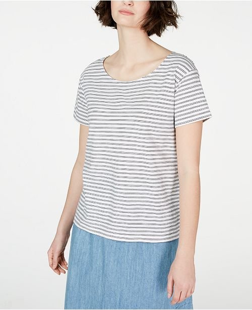 Eileen Fisher Organic Cotton Striped Top, Created for Macy's