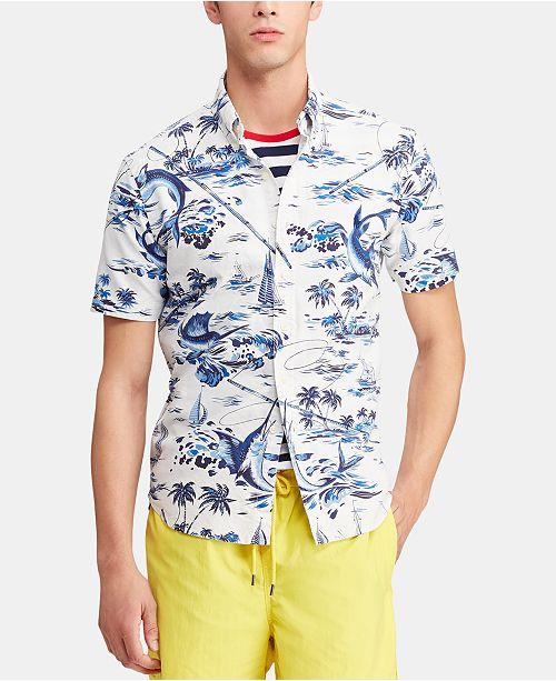 Polo Ralph Lauren Men's Big & Tall Classic Fit Printed Cotton Shirt