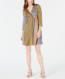 Bar III Geo-Print Twist-Front Dress, Created for Macy's