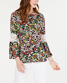 Tommy Hilfiger Crochet-Panel Printed Top, Created for Macy's