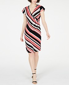 I.N.C. Striped Flutter-Sleeve Dress, Created for Macy's