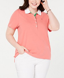 Plus Size Contrast-Collar Polo Top