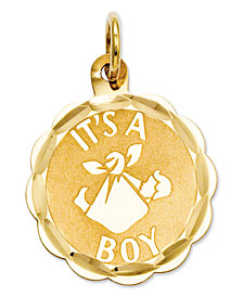 14k Gold Charm, It's A Boy Charm