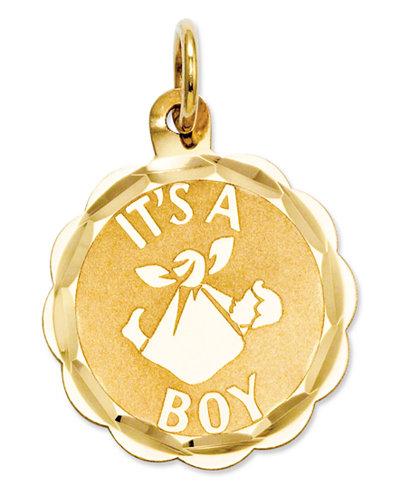 14k Gold Charm, It's A Boy Charm