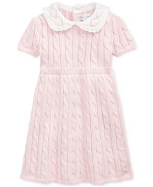 60s 70s Kids Costumes & Clothing Girls & Boys Polo Ralph Lauren Baby Girls Cable-Knit Cotton Dress $34.93 AT vintagedancer.com
