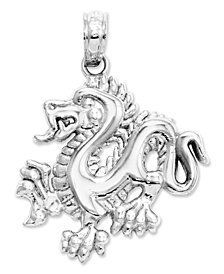 14k White Gold Charm, Small Dragon Charm