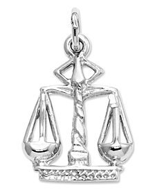 14k White Gold Charm, Small Scales of Justice Charm