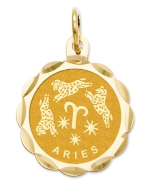 14k Gold Charm, Engraveable Aries Zodiac Disc Charm