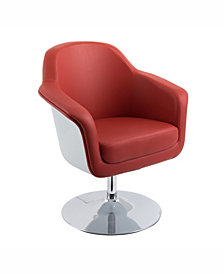 Corliving Modern Bonded Leather Swivel Accent Chair
