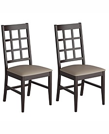 Corliving Stained Dining Chairs with Leatherette Seat, Set of 2
