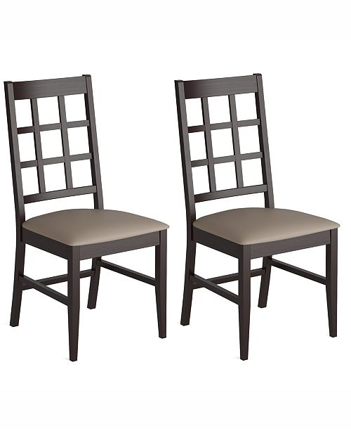 Corliving Distribution Corliving Stained Dining Chairs with Leatherette Seat, Set of 2