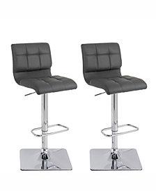 Corliving Adjustable Curved Back Barstool in Bonded Leather, Set of 2