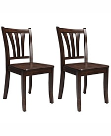 Stained Solid Wood Dining Chairs with Curved Vertical Slat Backrest, Set of 2