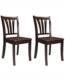 Corliving Stained Solid Wood Dining Chairs with Curved Vertical Slat Backrest, Set of 2