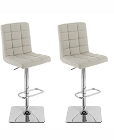 Heavy Duty Gas Lift Tufted Fabric Adjustable Barstool, Set of 2
