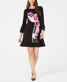 Alfani Bell-Sleeve Floral Fit & Flare Dress, Created for Macy's