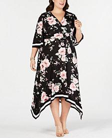 I.N.C. Plus Size Floral Kimono Midi Dress, Created for Macy's