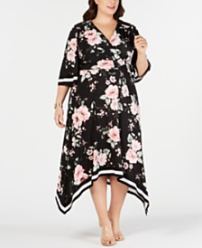 I.N.C. Plus Size Floral Kimono Midi Dress, Created for Macy's