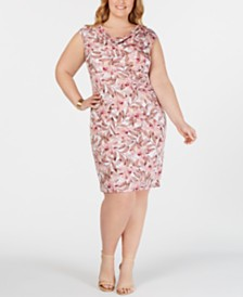 Connected Plus Size Cowlneck Sheath Dress
