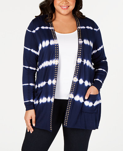 Belldini Black Label Plus Size Tie-Dyed Striped Open-Front Cardigan