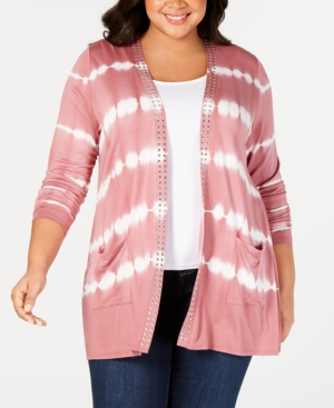 Belldini Tops BLACK LABEL PLUS SIZE TIE-DYED STRIPED OPEN-FRONT CARDIGAN